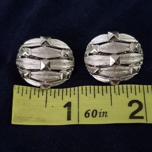 Trifari Jewelry - Trifari Vintage Silver Toned Oval Clip On Earrings